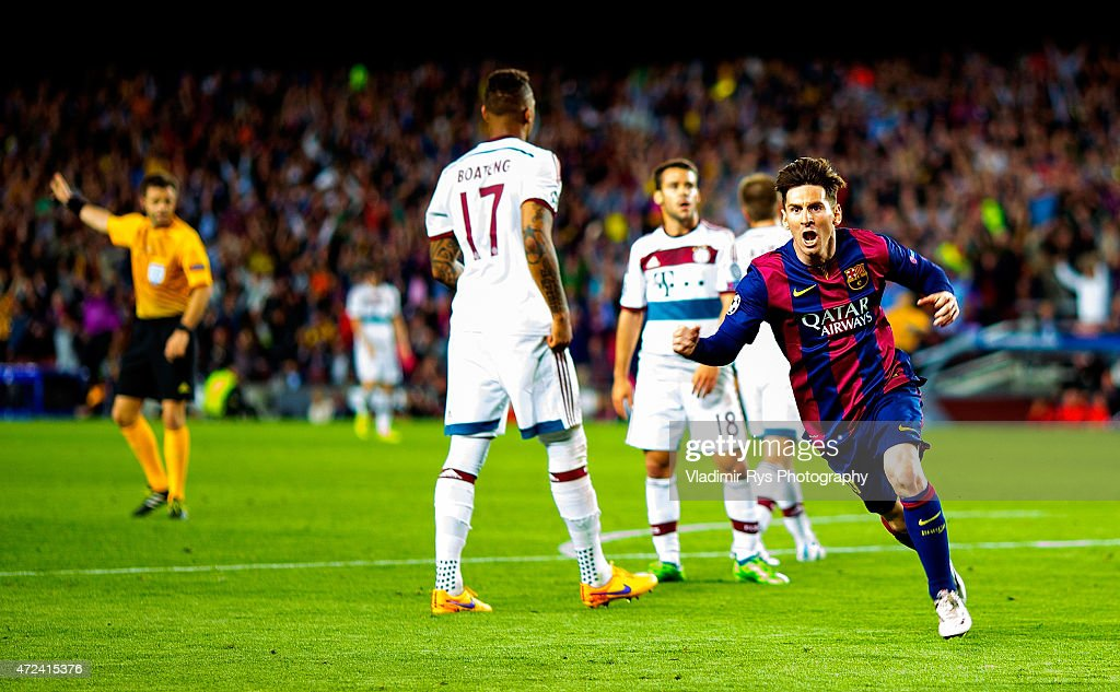 Lionel Messi of Barcelona celebrates after scoring his first goal during the first leg of UEFA Champions League semifinal match between FC Barcelona and FC Bayern Muenchen at Camp Nou on May 6, 2015 in Barcelona, Spain.