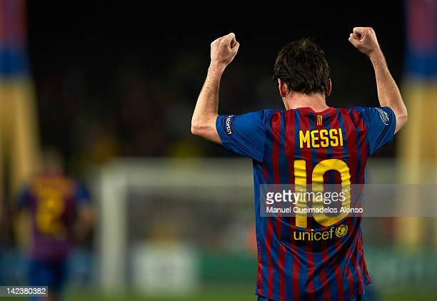 Lionel Messi of Barcelona celebrates after scoring his second goal during the UEFA Champions League quarterfinal second leg match between FC...