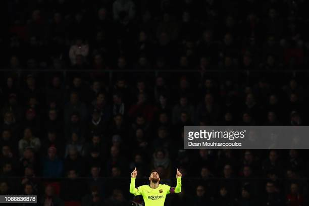 Lionel Messi of Barcelona celebrates after scoring his sides first goal during the UEFA Champions League Group B match between PSV Eindhoven and FC...