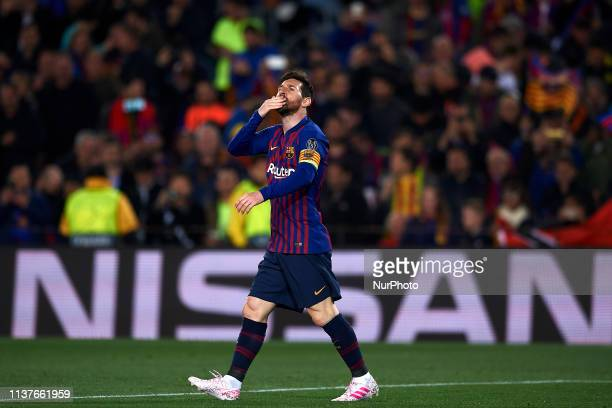 Lionel Messi of Barcelona celebrates after scoring his sides first goal during the UEFA Champions League Quarter Final second leg match between FC...