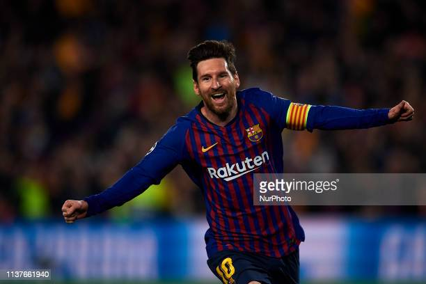 Lionel Messi of Barcelona celebrates after scoring his sides second goal during the UEFA Champions League Quarter Final second leg match between FC...