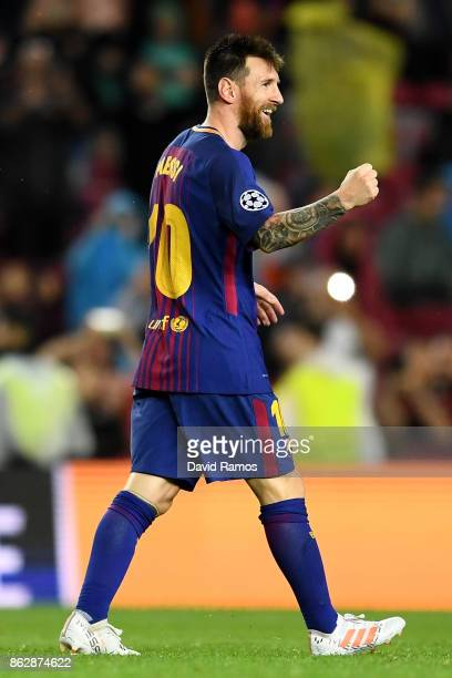 Lionel Messi of Barcelona celebrates after scoring his sides second goal during the UEFA Champions League group D match between FC Barcelona and...