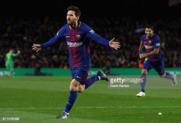 Lionel Messi of Barcelona celebrates after scoring his sides second goal during the La Liga match between Barcelona and Deportivo Alaves at Camp Nou...