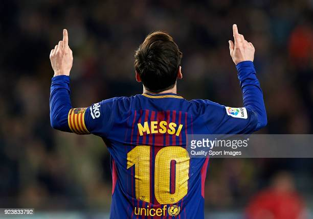 Lionel Messi of Barcelona celebrates after scoring his sides second goal during the La Liga match between Barcelona and Girona at Camp Nou on...