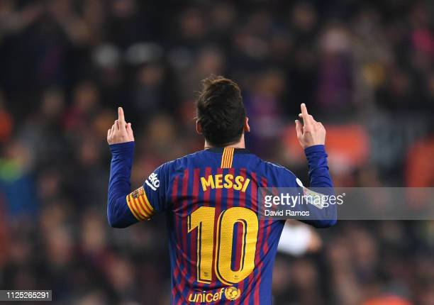 Lionel Messi of Barcelona celebrates after scoring his team's first goal during the La Liga match between FC Barcelona and Real Valladolid CF at Camp...