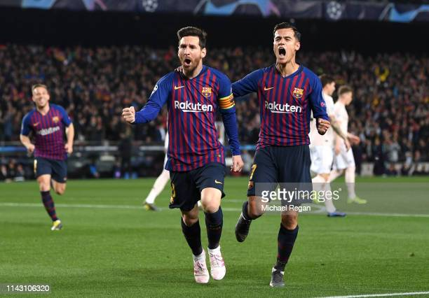 Lionel Messi of Barcelona celebrates after scoring his team's first goal with Philippe Coutinho of Barcelona during the UEFA Champions League Quarter...