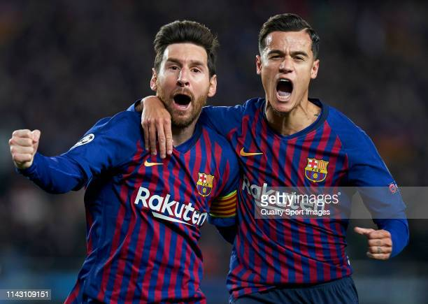 Lionel Messi of Barcelona celebrates after scoring his team's first goal with his teammate Philippe Coutinho during the UEFA Champions League Quarter...