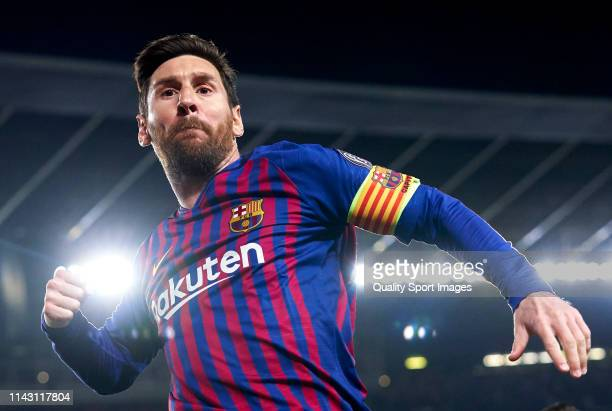 Lionel Messi of Barcelona celebrates after scoring his team's first goal during the UEFA Champions League Quarter Final second leg match between FC...