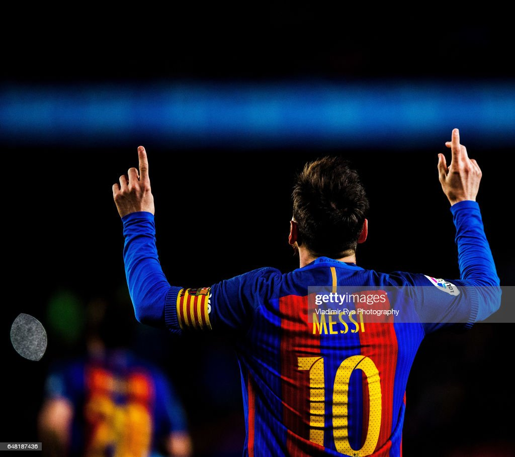 Lionel Messi of Barcelona celebrates after scoring his team's first goal during the La Liga match between FC Barcelona and RC Celta de Vigo at Camp Nou on March 04, 2017 in Barcelona, Spain.