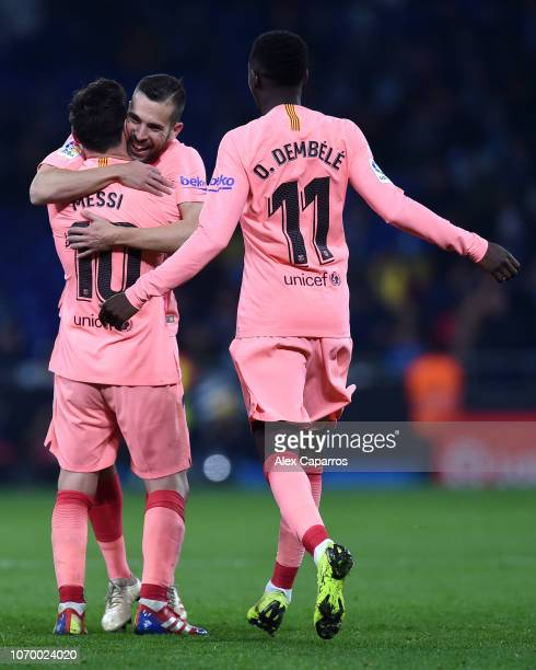 Lionel Messi of Barcelona celebrates after scoring his team's fourth goal with Jordi Alba and Ousmane Dembele of Barcelona during the La Liga match...