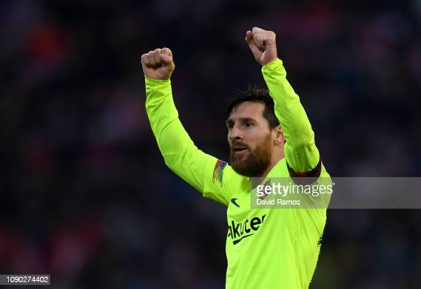 Lionel Messi of Barcelona celebrates after scoring his team's second goal during the La Liga match between Girona FC and FC Barcelona at Montilivi...