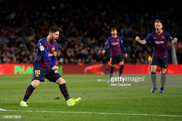 Lionel Messi of Barcelona celebrates after scoring his team's second goal during the La Liga match between FC Barcelona and Valencia CF at Camp Nou...