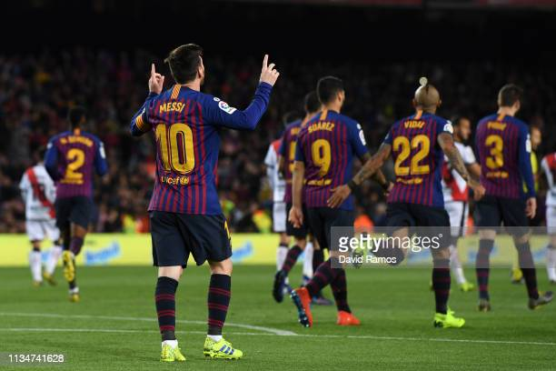 Lionel Messi of Barcelona celebrates after scoring his team's second goal during the La Liga match between FC Barcelona and Rayo Vallecano de Madrid...