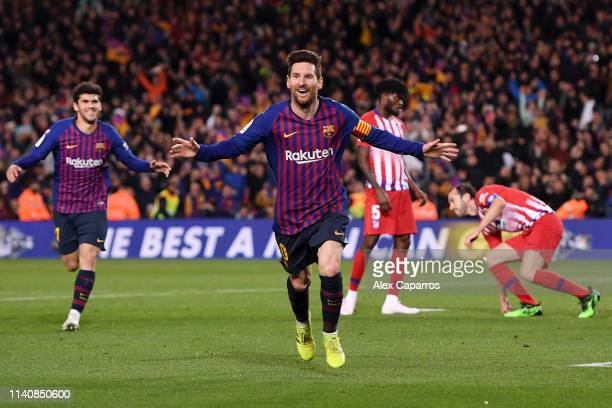 Lionel Messi of Barcelona celebrates after scoring his team's second goal during the La Liga match between FC Barcelona and Club Atletico de Madrid...