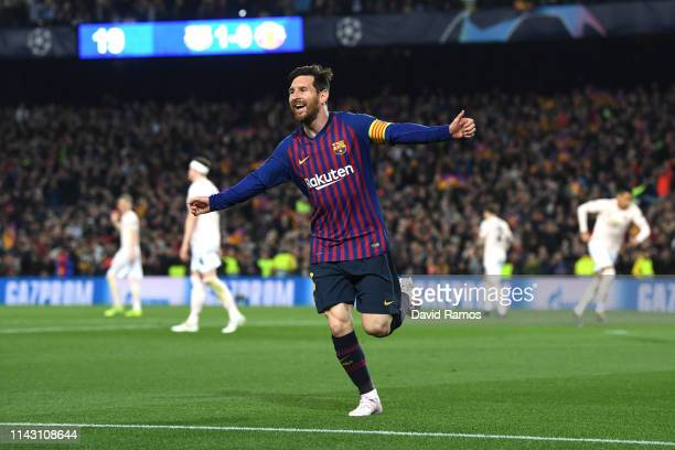 Lionel Messi of Barcelona celebrates after scoring his team's second goal during the UEFA Champions League Quarter Final second leg match between FC...