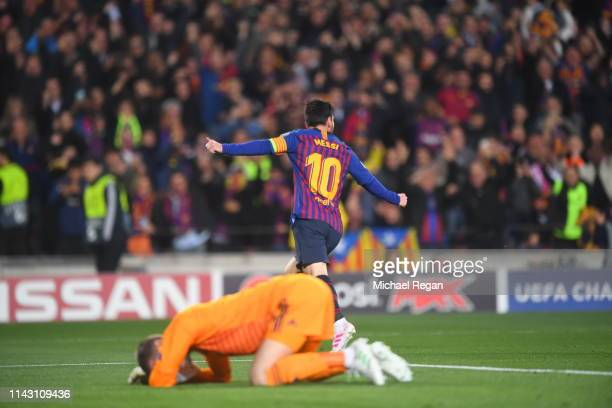 Lionel Messi of Barcelona celebrates after scoring his team's second goal as David De Gea of Manchester United reacts during the UEFA Champions...