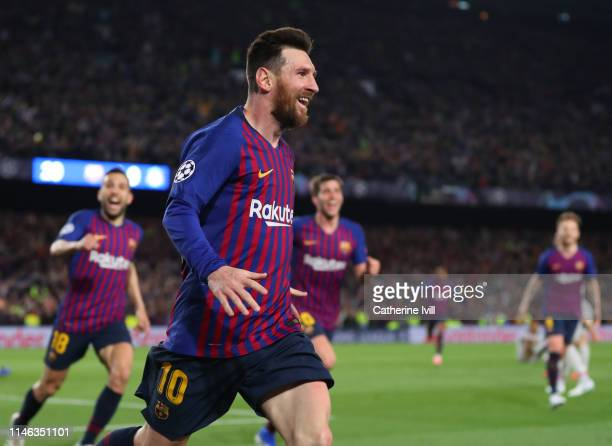 Lionel Messi of Barcelona celebrates after scoring his teams second goal during the UEFA Champions League Semi Final first leg match between...