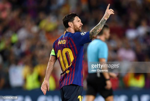 Lionel Messi of Barcelona celebrates after scoring his team's third goal during the Group B match of the UEFA Champions League between FC Barcelona...