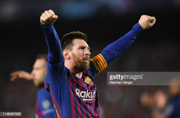 Lionel Messi of Barcelona celebrates after scoring his team's third goal during the UEFA Champions League Semi Final first leg match between...