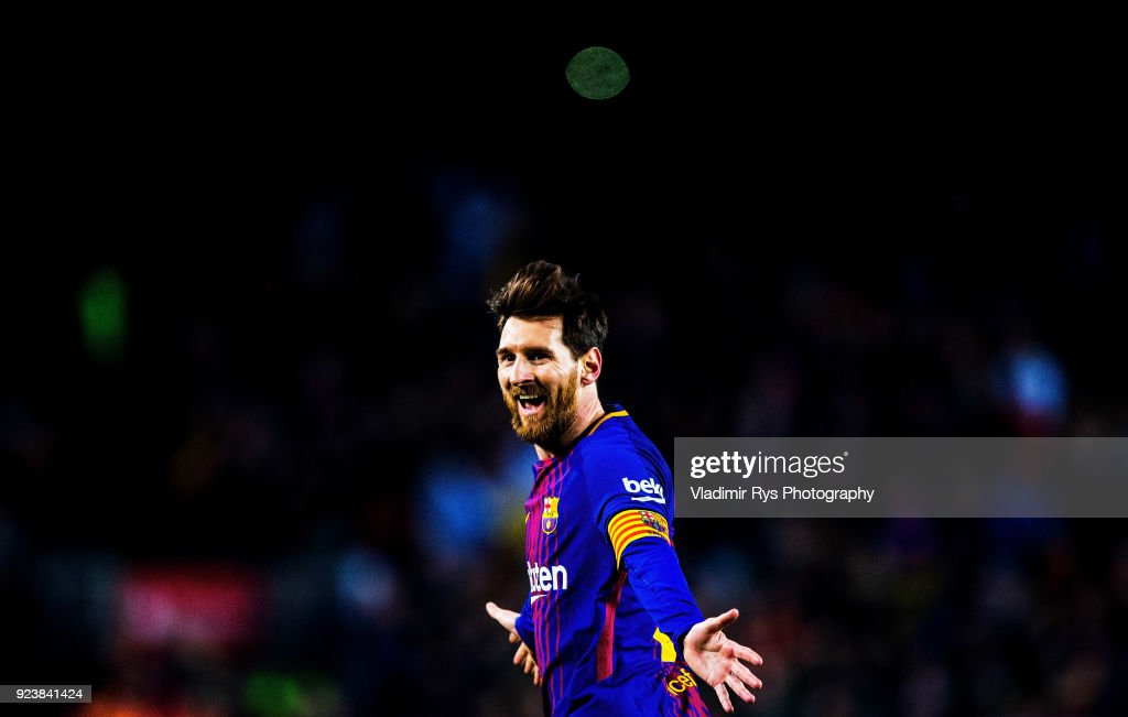 Lionel Messi of Barcelona celebrates after scoring his team's third goal during the La Liga match between FC Barcelona and Girona at the Camp Nou stadium on February 24, 2018 in Barcelona, Spain.