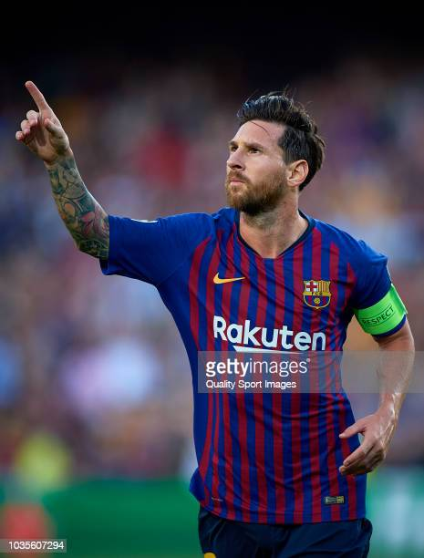 Lionel Messi of Barcelona celebrates after scoring the first goal during the Group B match of the UEFA Champions League between FC Barcelona and PSV...