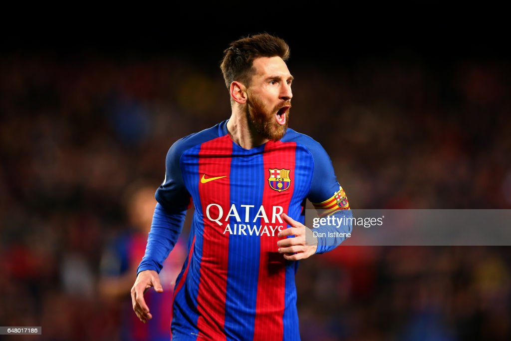 Lionel Messi of Barcelona celebrates after scoring the opening goal during the La Liga match between FC Barcelona and RC Celta de Vigo at the Camp Nou on March 4, 2017 in Barcelona, Spain.