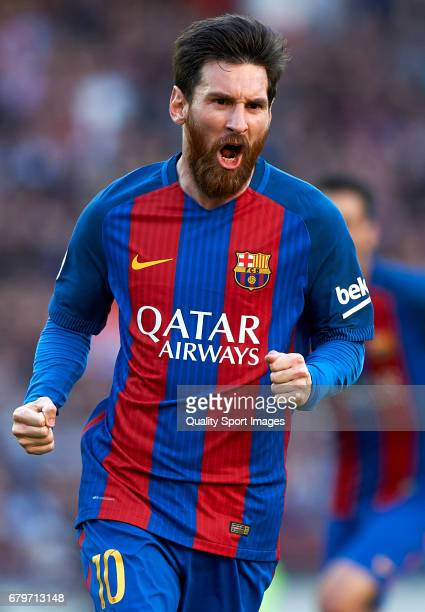 Lionel Messi of Barcelona celebrates after scoring the second goal during the La Liga match between FC Barcelona and Villarreal CF at Camp Nou...