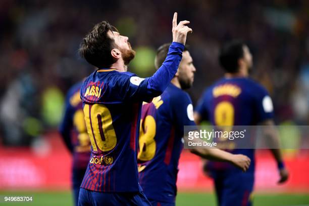 Lionel Messi of Barcelona celebrates after scoring the teams second goal during the Spanish Copa del Rey match between Barcelona and Sevilla at Wanda...