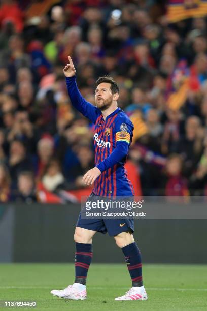 Lionel Messi of Barcelona celebrates after scoring their 1st goal during the UEFA Champions League Quarter Final second leg match between FC...