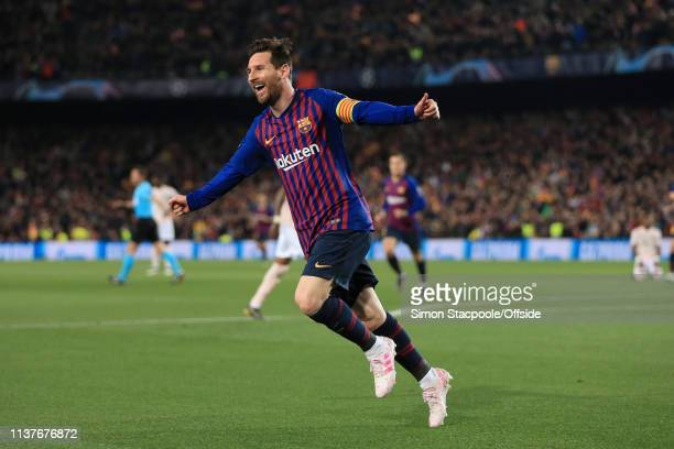 Lionel Messi of Barcelona celebrates after scoring their 2nd goal during the UEFA Champions League Quarter Final second leg match between FC...