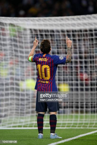 Lionel Messi of Barcelona celebrates after scoring their 4th goal during the Group B match of the UEFA Champions League between Tottenham Hotspur and...