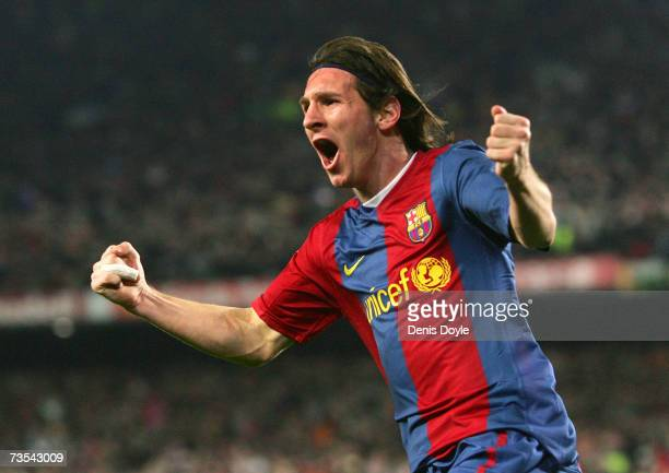 Lionel Messi of Barcelona celebrates after scoring their second goal during the Primera Liga match between Barcelona and Real Madrid at the Nou Camp...
