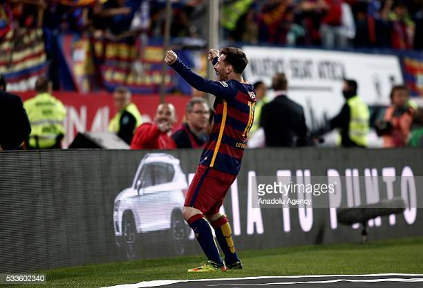 Lionel Messi of Barcelona celebrates after winning the Copa del Rey Final match between FC Barcelona and Sevilla FC at Vicente Calderon Stadium on...