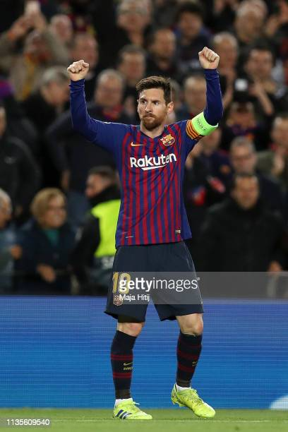 Lionel Messi of Barcelona celebrates as he scores his team's third goal during the UEFA Champions League Round of 16 Second Leg match between FC...