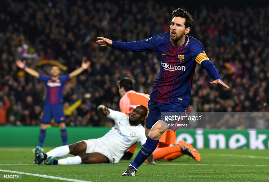 Lionel Messi of Barcelona celebrates as he scores their third goal during the UEFA Champions League Round of 16 Second Leg match FC Barcelona and Chelsea FC at Camp Nou on March 14, 2018 in Barcelona, Spain.