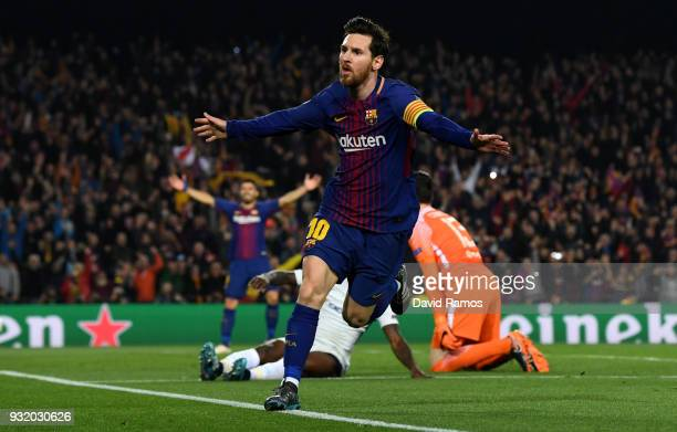 Lionel Messi of Barcelona celebrates as he scores their third goal during the UEFA Champions League Round of 16 Second Leg match FC Barcelona and...