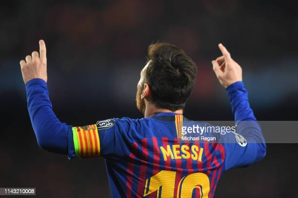 Lionel Messi of Barcelona celebrates his first goal during the UEFA Champions League Quarter Final second leg match between FC Barcelona and...