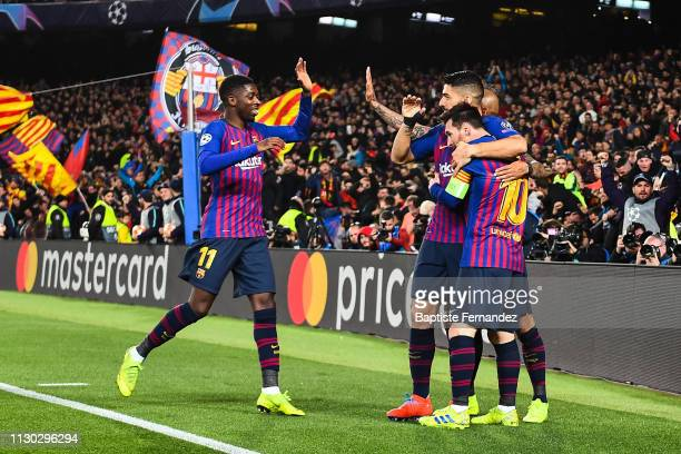 Lionel Messi of Barcelona celebrates his goal with Ousmane Dembele of Barcelona and Luis Suarez of Barcelona during the UEFA Champions League Round...