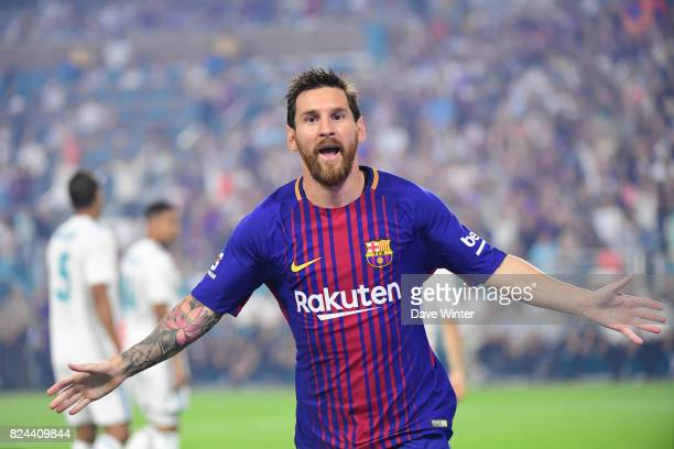 Lionel Messi of Barcelona celebrates putting his side 10 ahead during the International Champions Cup match between Barcelona and Real Madrid at Hard...