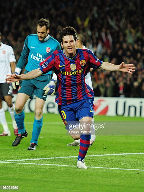 Lionel Messi of Barcelona celebrates scoring his second goal during the UEFA Champions League quarter final second leg match between Barcelona and...