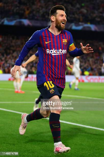 Lionel Messi of Barcelona celebrates scoring his side's second goal during the UEFA Champions League Semi Final first leg match between Barcelona and...