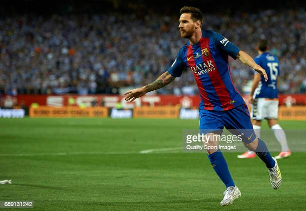 Lionel Messi of Barcelona celebrates scoring his team's first goal during the Copa Del Rey Final match between FC Barcelona and Deportivo Alaves at...