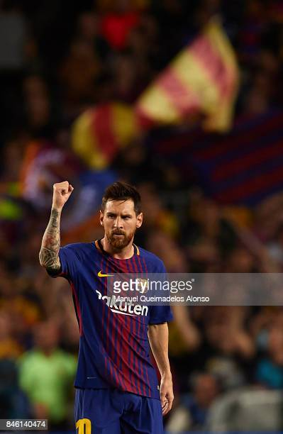 Lionel Messi of Barcelona celebrates scoring his team's first goal during the UEFA Champions League group D match between FC Barcelona and Juventus...