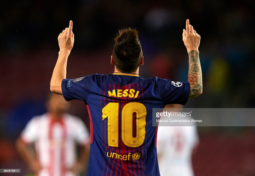 Lionel Messi of Barcelona celebrates scoring his team's second goal during the UEFA Champions League group D match between FC Barcelona and Olympiakos Piraeus at Camp Nou on October 18, 2017 in Barcelona, Spain.