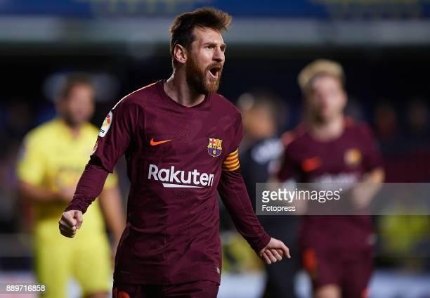 Lionel Messi of Barcelona celebrates scoring his team's second goal during the La Liga match between Villarreal and Barcelona at Estadio La Ceramica...