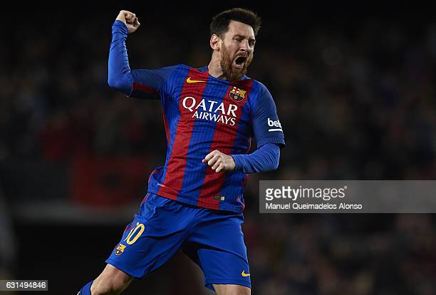 Lionel Messi of Barcelona celebrates scoring his team's third goal during the Copa del Rey Round of 16 Second Leg match between FC Barcelona and...