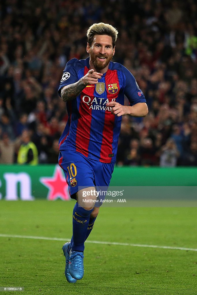 Lionel Messi of Barcelona celebrates scoring his team's third goal to seal his hat-trick and make the score 3-0 during the UEFA Champions League match between FC Barcelona and Manchester City FC at Camp Nou on October 19, 2016 in Barcelona.