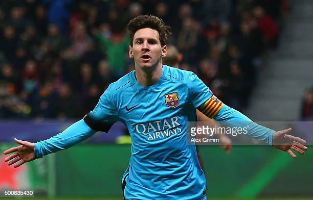 Lionel Messi of Barcelona celebrates scoring the first Barcelona goal during the UEFA Champions League Group E match between Bayer 04 Leverkusen and...