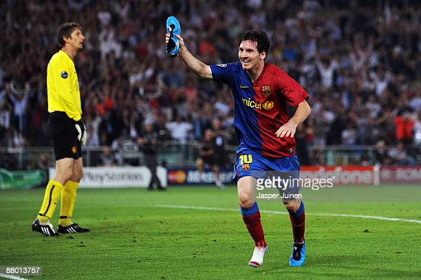 Lionel Messi of Barcelona celebrates scoring the second goal for Barcelona during the UEFA Champions League Final match between Barcelona and...