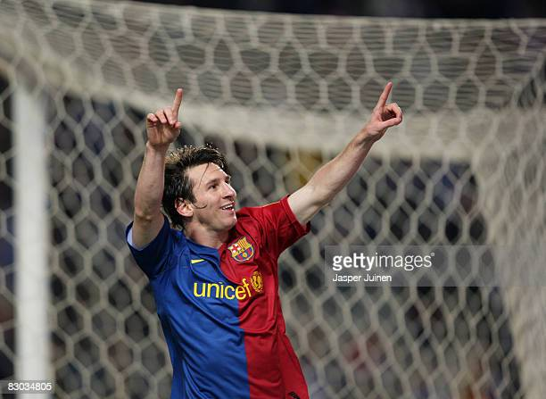 Lionel Messi of Barcelona celebrates scoring the winning goal from a penatly during the La Liga match between Espanyol and Barcelona at the Montjuic...